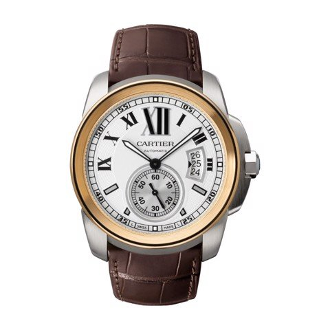 Cartier Calibre De Cartier Large Pink Gold Steel Leather