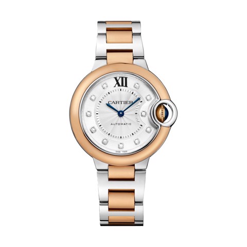 Cartier Ballon Bleu de Cartier 33mm Pink Gold Steel Diamonds