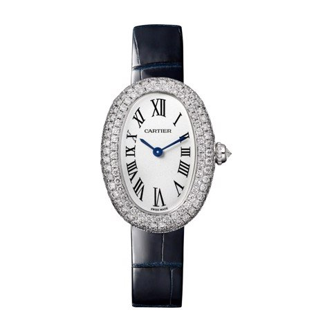 Cartier Baignoire 1920 Small White Gold Diamonds Leather