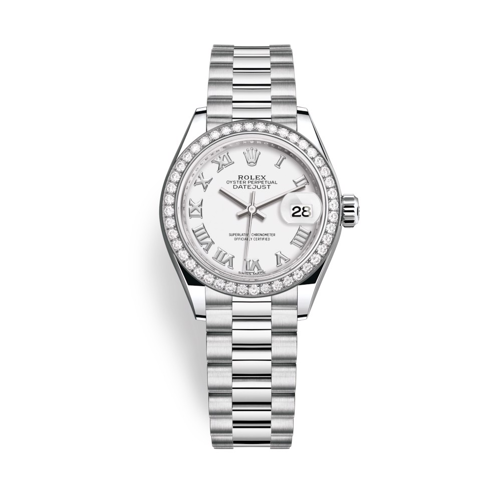 Rolex Lady-Datejust 28mm Platinum and White Dial 279136RBR-0013