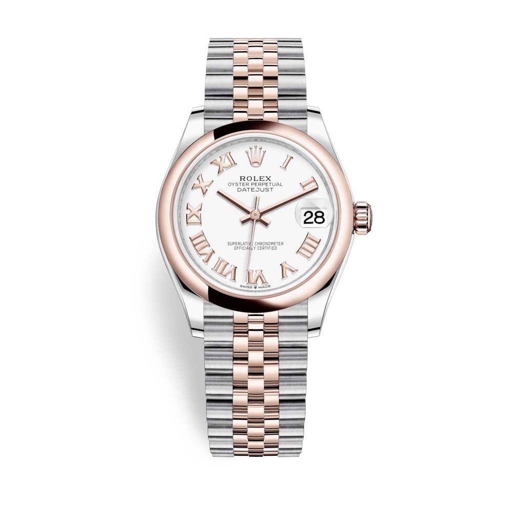 Rolex Datejust 31mm Stainless Steel and Everose Gold White Dial 278241-0002