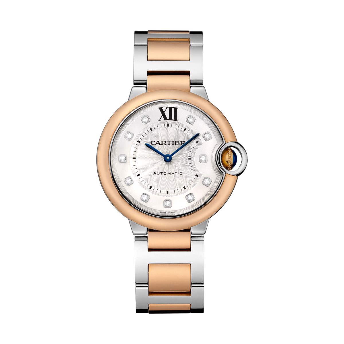 Cartier Ballon Bleu de Cartier 36mm Pink Gold Steel Diamonds
