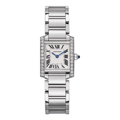 Cartier Tank Francaise Small Model Steel Diamonds