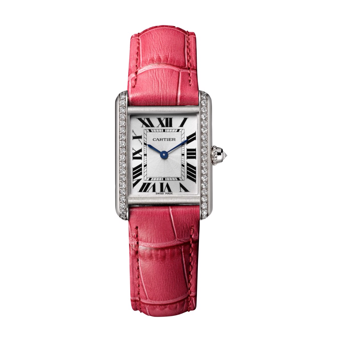 Cartier Tank Louis Cartier Small Model White Gold Leather Diamonds
