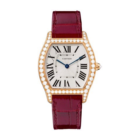 Cartier Tortue Medium Pink Gold Diamonds Leather