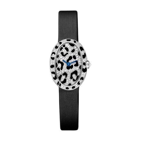 Cartier Baignoire Panther Spots Mini White Gold Enamel Diamonds Fabric