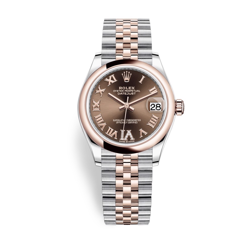 Rolex Datejust 31mm Stainless Steel and Everose Gold Chocolate Dial 278241-0004