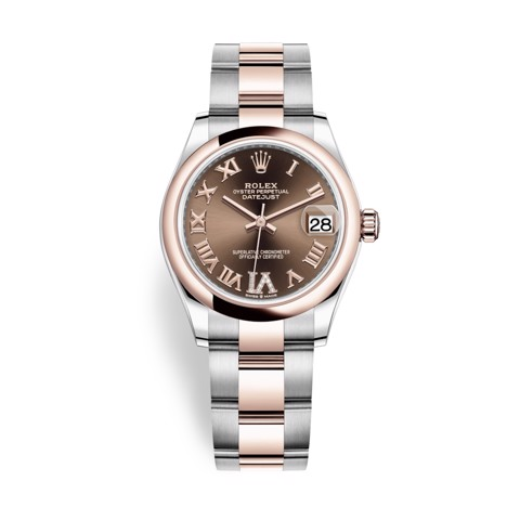 Rolex Datejust 31mm Stainless Steel and Everose Gold Chocolate Dial 278241-0003