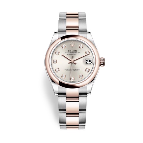 Rolex Datejust 31mm Stainless Steel and Everose Gold Silver Dial 278241-0015