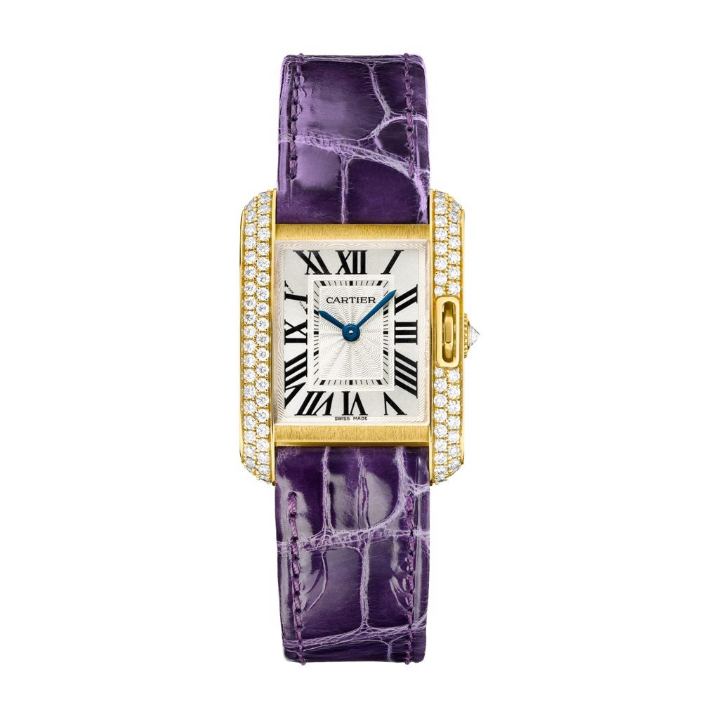 Cartier Tank Anglaise Small Model Yellow Gold Leather Diamonds