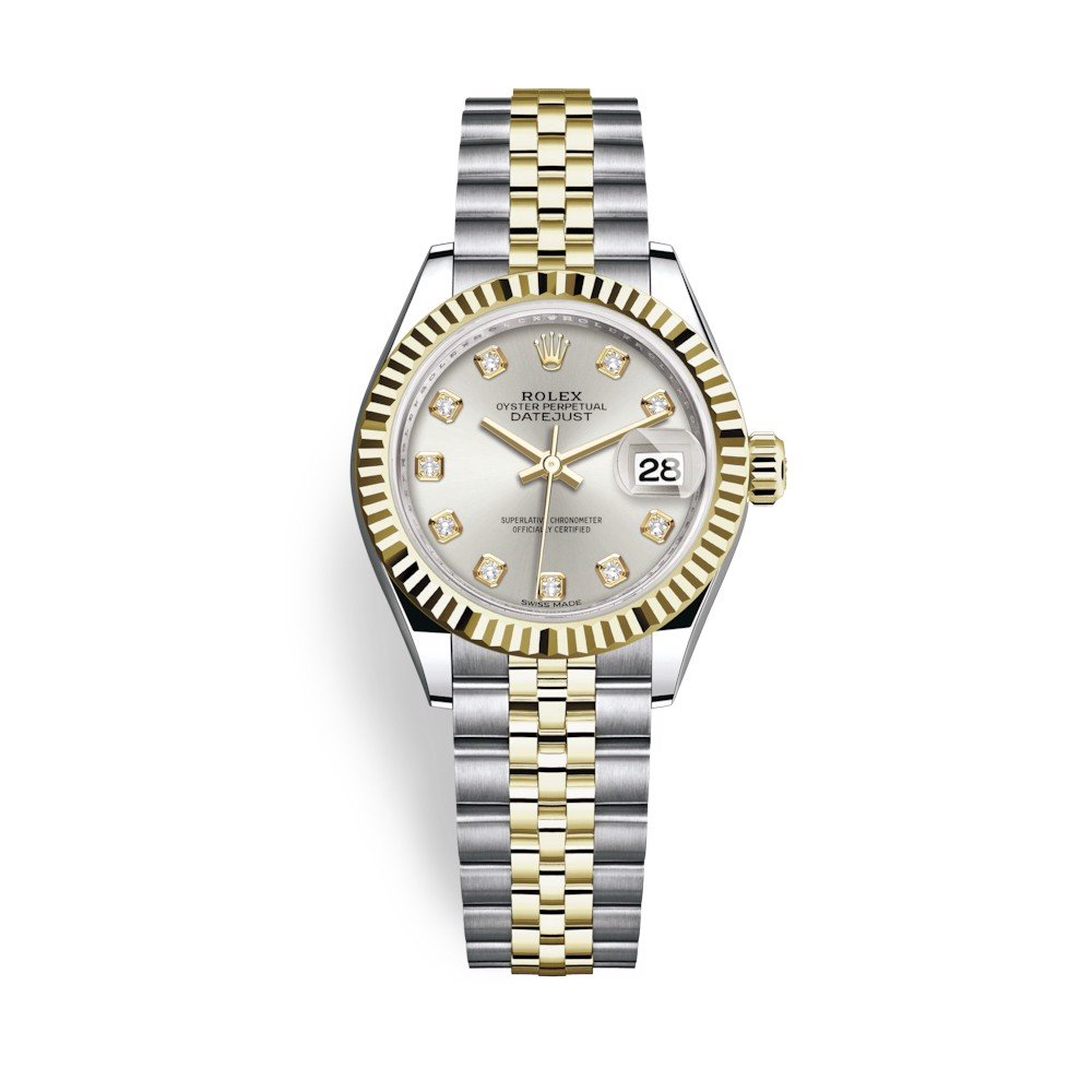 Rolex Lady-Datejust 28mm Stainless Steel Yellow Gold and Silver Dial 279173-0007