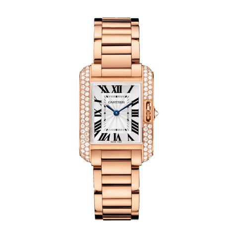Cartier Tank Anglaise Small Model Pink Gold Diamonds