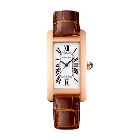 Cartier Tank Américaine Medium Model Pink Gold Leather