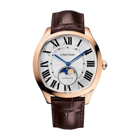 Cartier Drive De Cartier Moon Phases Pink Gold Leather