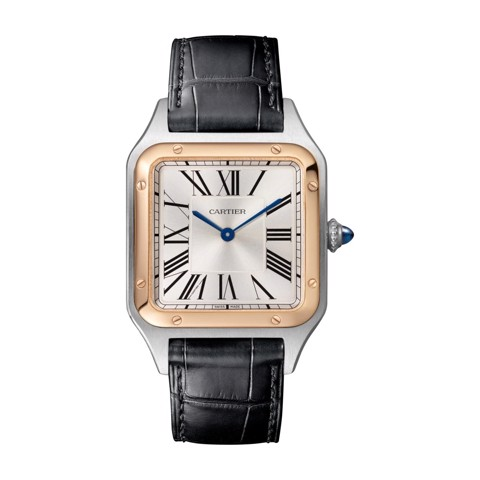 Cartier Santos Dumont Large Pink Gold Steel Leather