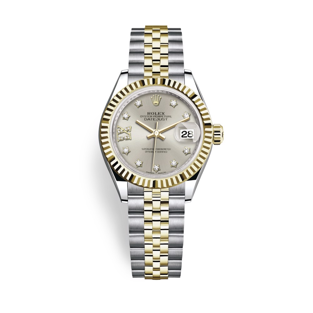 Rolex Lady-Datejust 28mm Stainless Steel Yellow Gold and Silver Dial 279173-0003