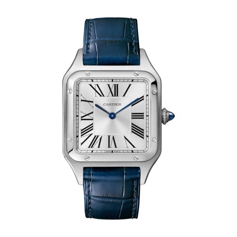 Cartier Santos Dumont Large Steel Leather