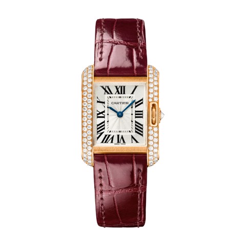 Cartier Tank Anglaise Small Model Pink Gold Leather Diamonds