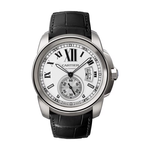Cartier Calibre De Cartier Large Steel Leather