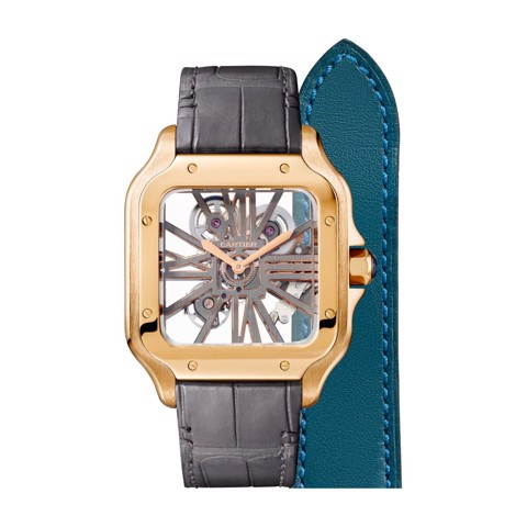 Cartier Santos De Cartier Skeleton Large Pink Gold 2 Leather