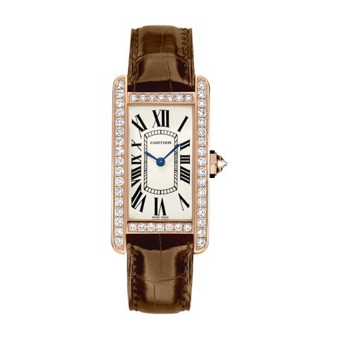 Cartier Tank Américaine Small Model Pink Gold Leather Diamonds