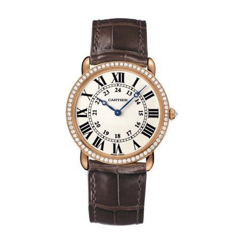 Cartier Ronde Louis Cartier 36mm Pink Gold Diamonds Leather
