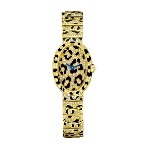 Cartier Baignoire Panther Spots Mini Yellow Gold Enamel Diamonds