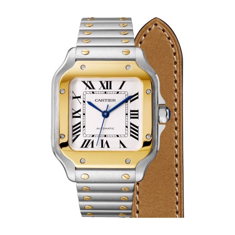 Cartier Santos De Cartier Medium Yellow Gold Steel Bracelet & Leather