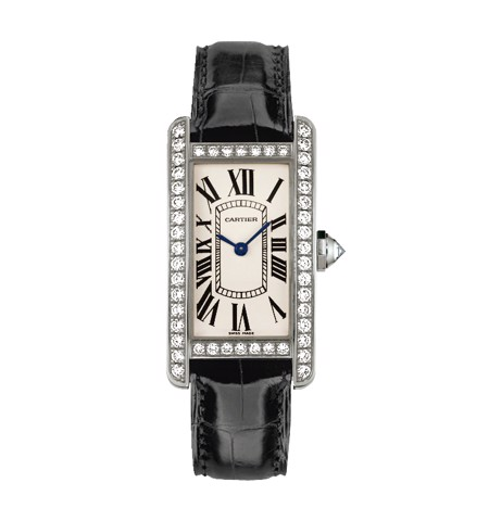 Cartier Tank Américaine Small Model White Gold Fabric Diamonds