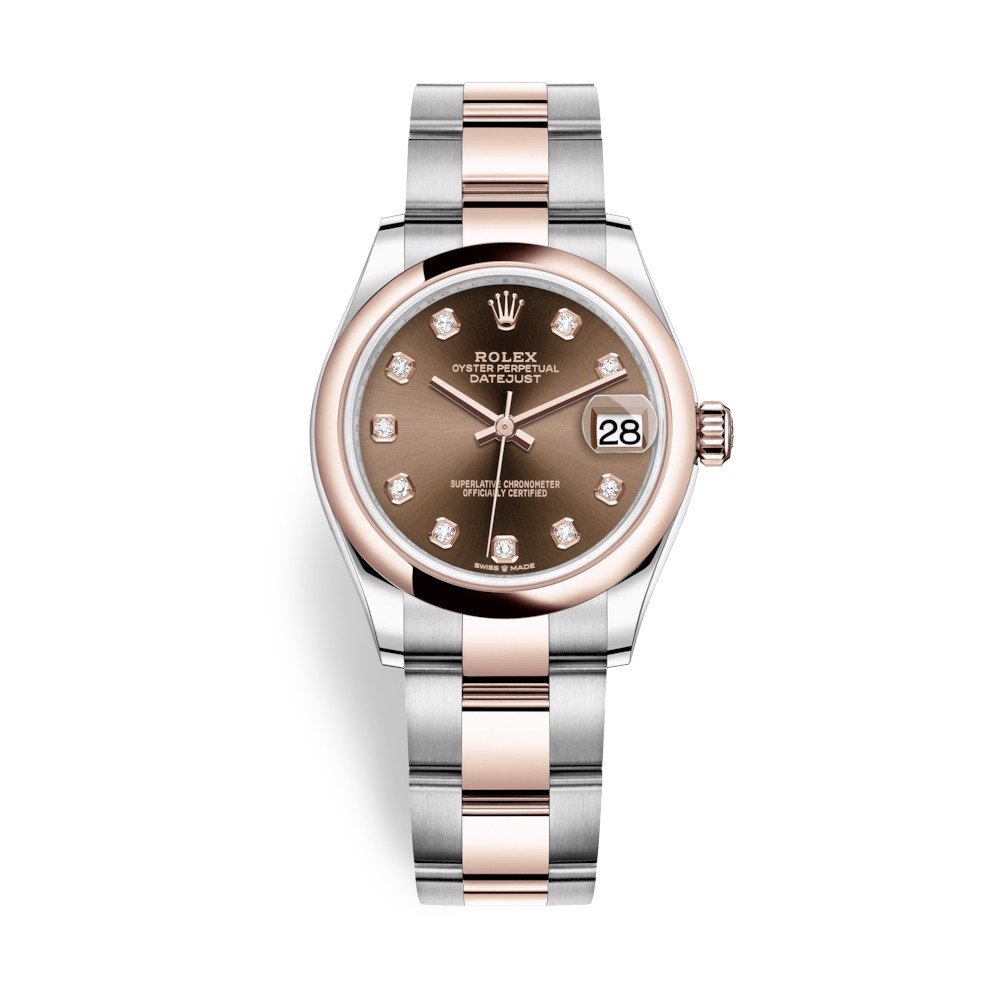 Rolex Datejust 31mm Stainless Steel and Everose Gold Chocolate Dial 278241-0027