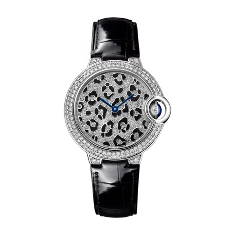 Cartier Ballon Bleu de Cartier 33mm White Gold Alligator Skin Enamel Diamonds