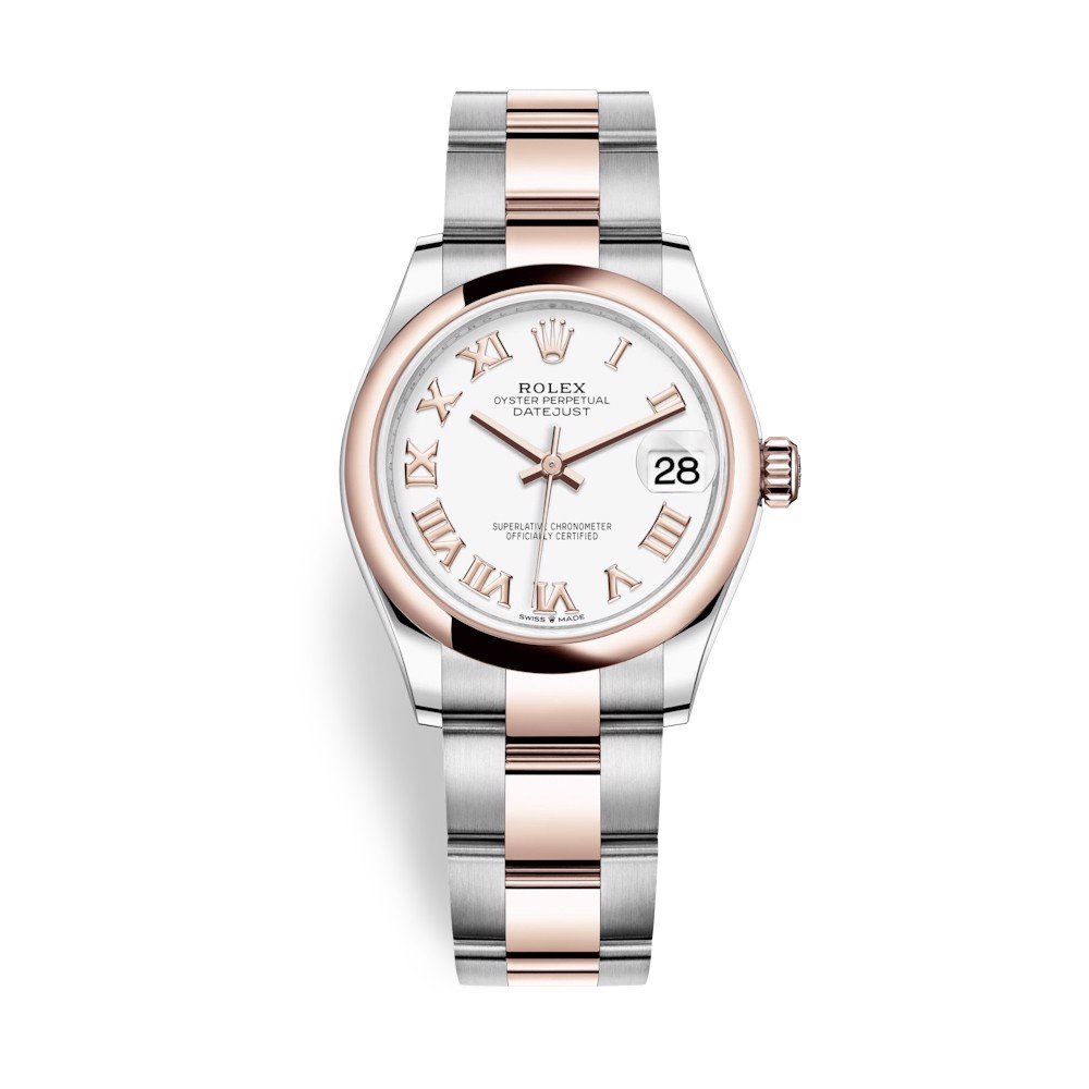 Rolex Datejust 31mm Stainless Steel and Everose Gold White Dial 278241-0001