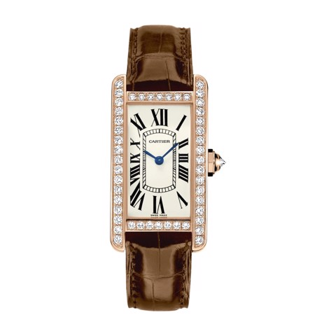 Cartier Tank Américaine Small Model Pink Gold Fabric Diamonds