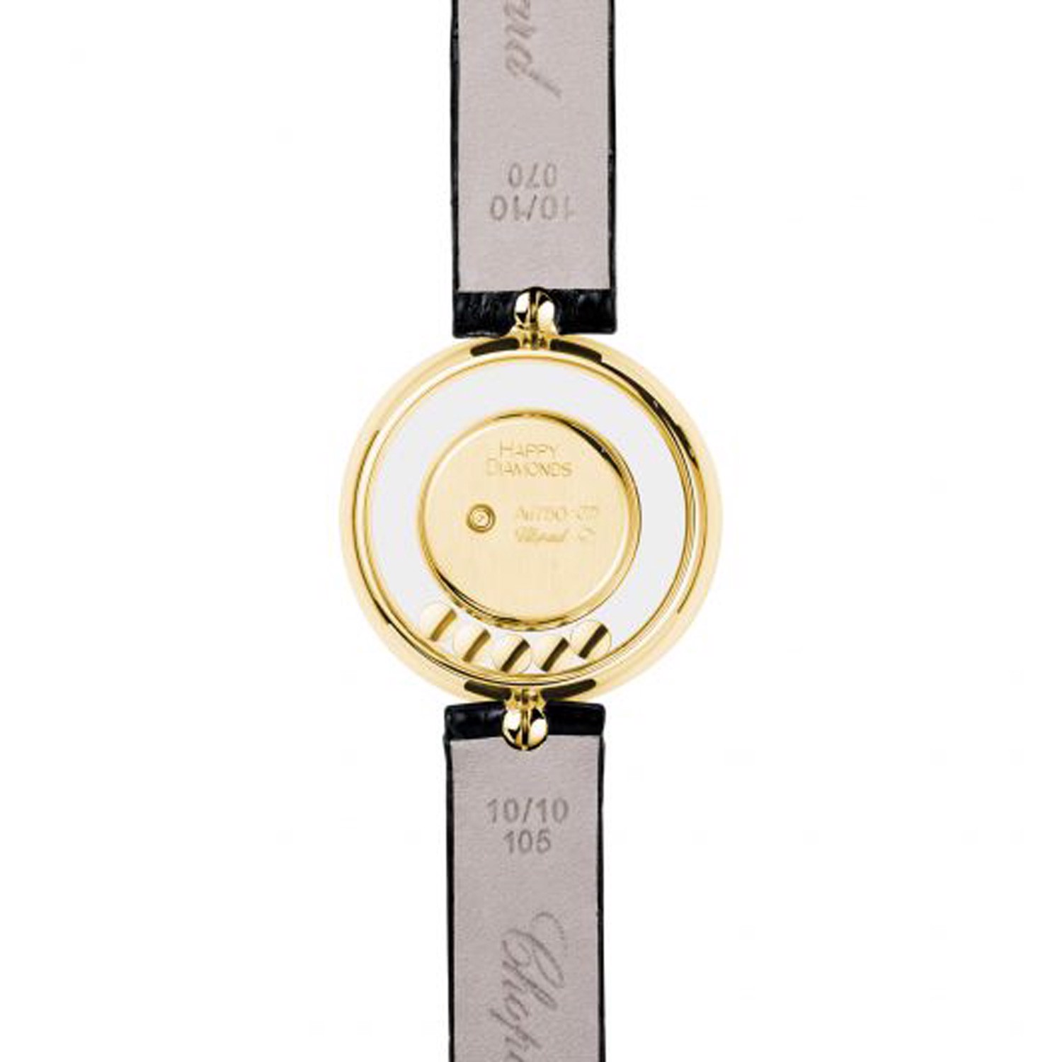 Chopard Happy Diamond Icon Full Diamond Yellow Gold Black Leather Strap 26mm