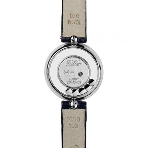 Chopard Happy Diamond Icon Full Diamond White Gold Black Leather Strap 26mm