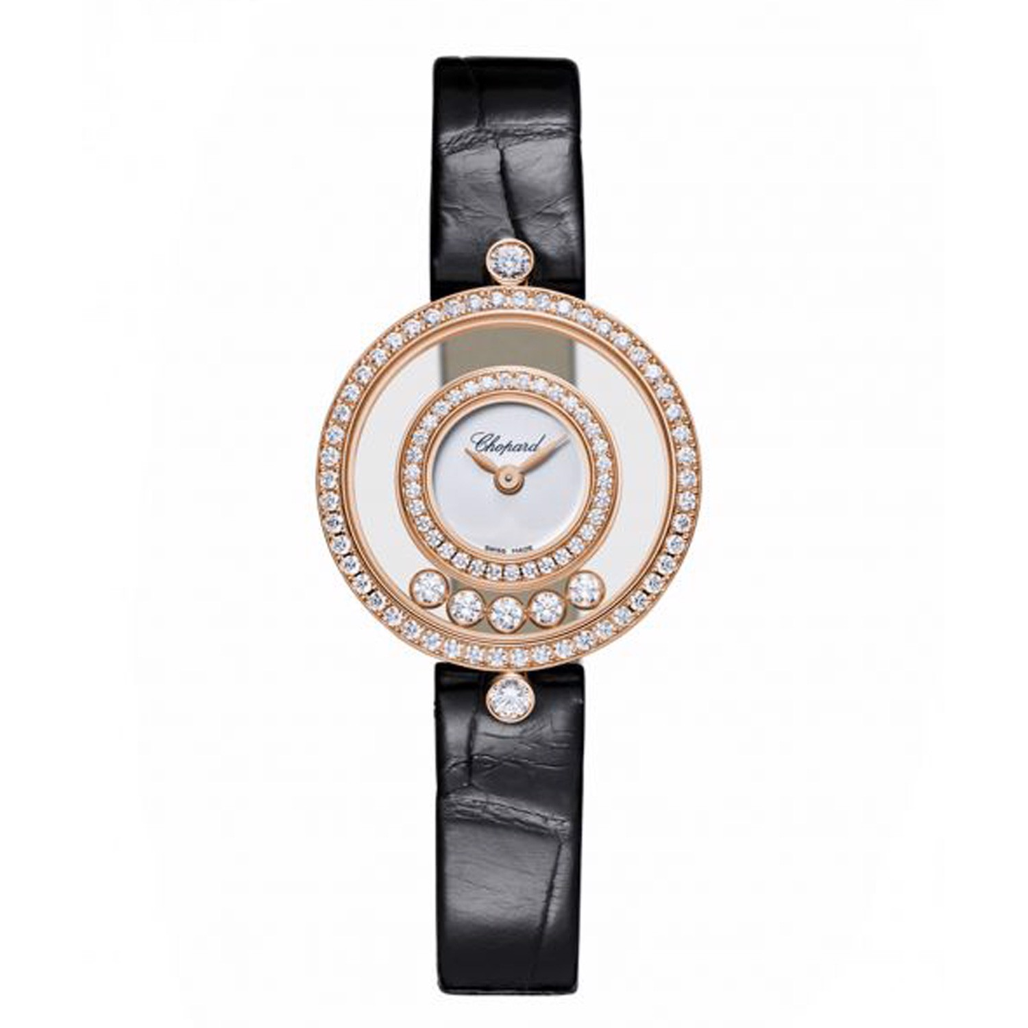 Chopard Happy Diamond Icon Full Diamond Rose Gold Black Leather Strap 26mm