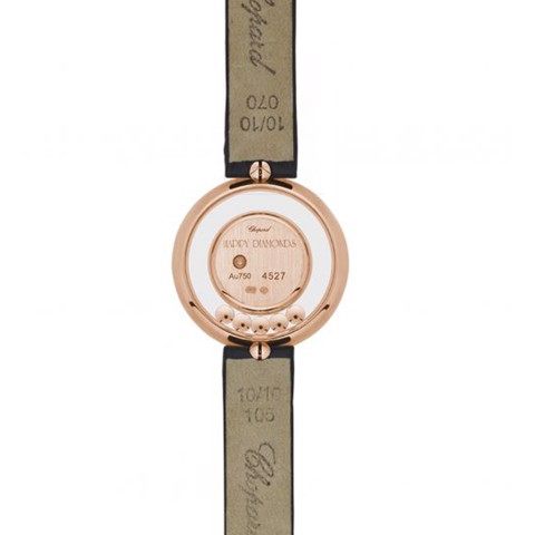 Chopard Happy Diamond Icon Full Diamond Rose Gold Black Leather Strap MOP 26mm