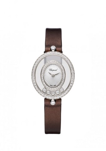Chopard Happy Diamond Icon Oval Full Diamond White Gold Leather Strap 29mm