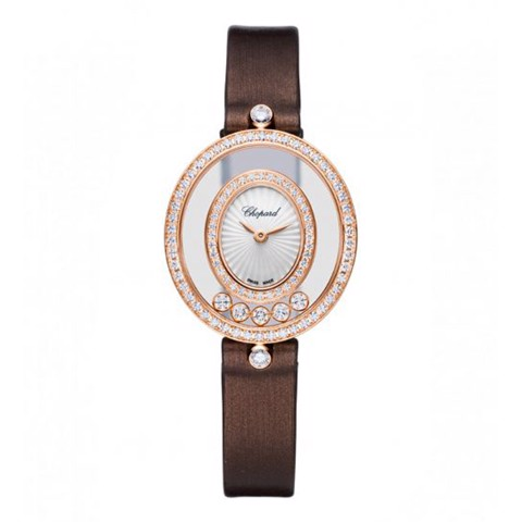 Chopard Happy Diamond Icon Oval Full Diamond Rose Gold Leather Strap 29mm