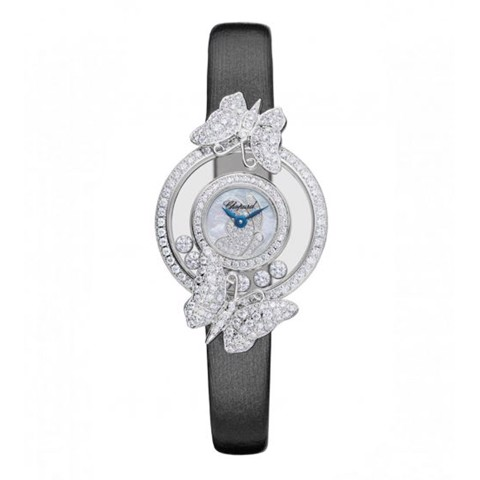 Chopard Happy Diamond ButterFly White Gold Black Leather Strap 26mm