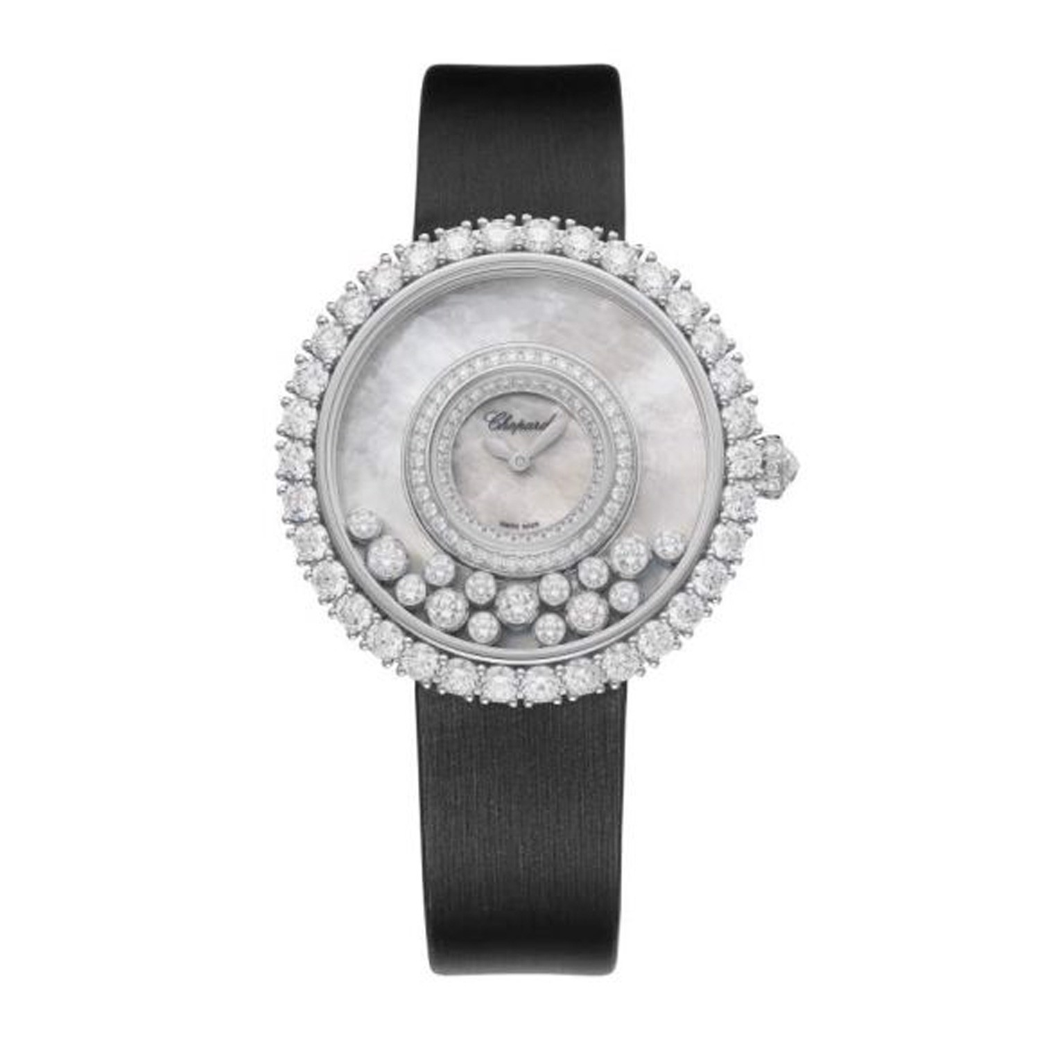 Chopard Happy Diamond Full Diamond White Gold Satin Strap 36mm