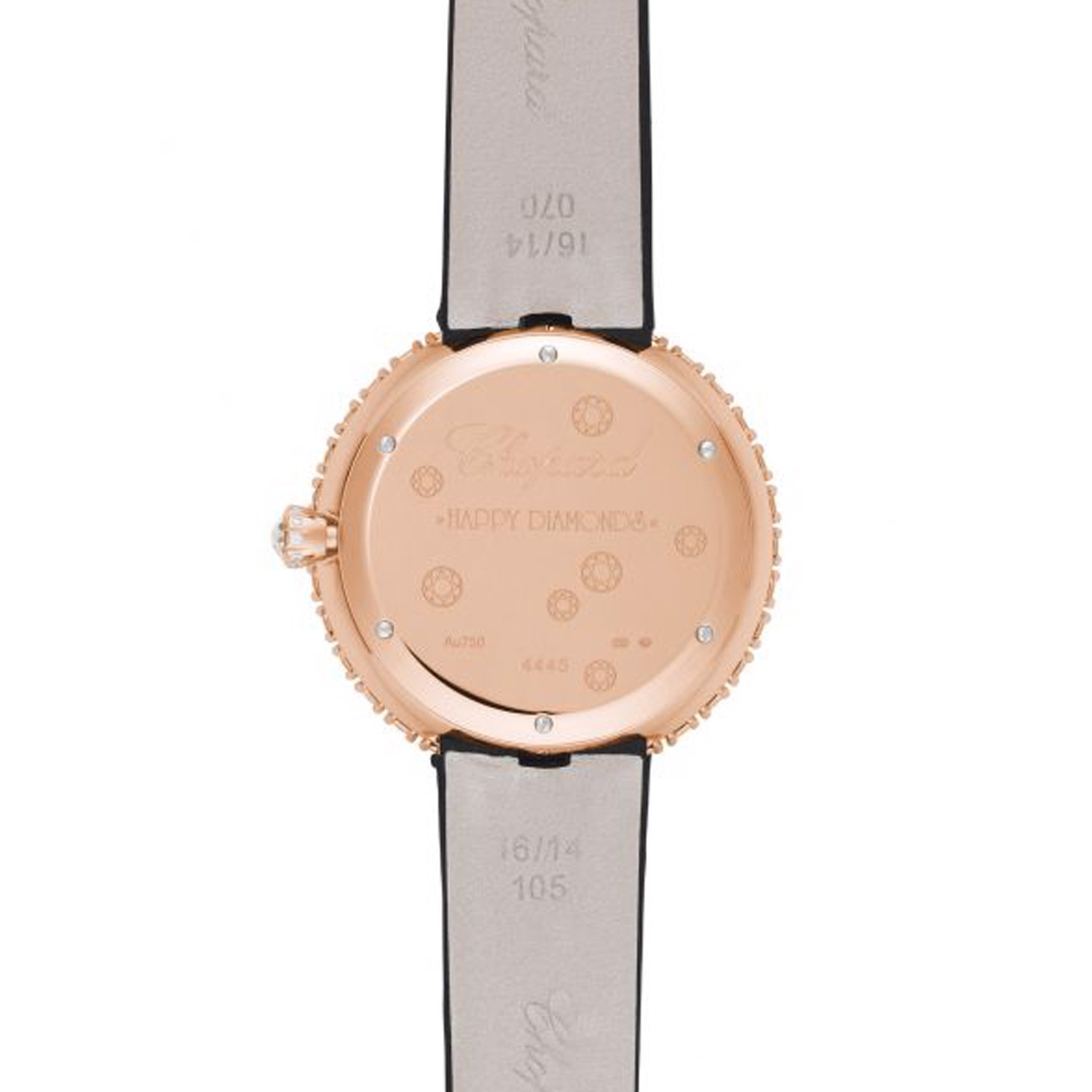 Chopard Happy Diamond Full Diamond Rose Gold Satin Strap 36mm