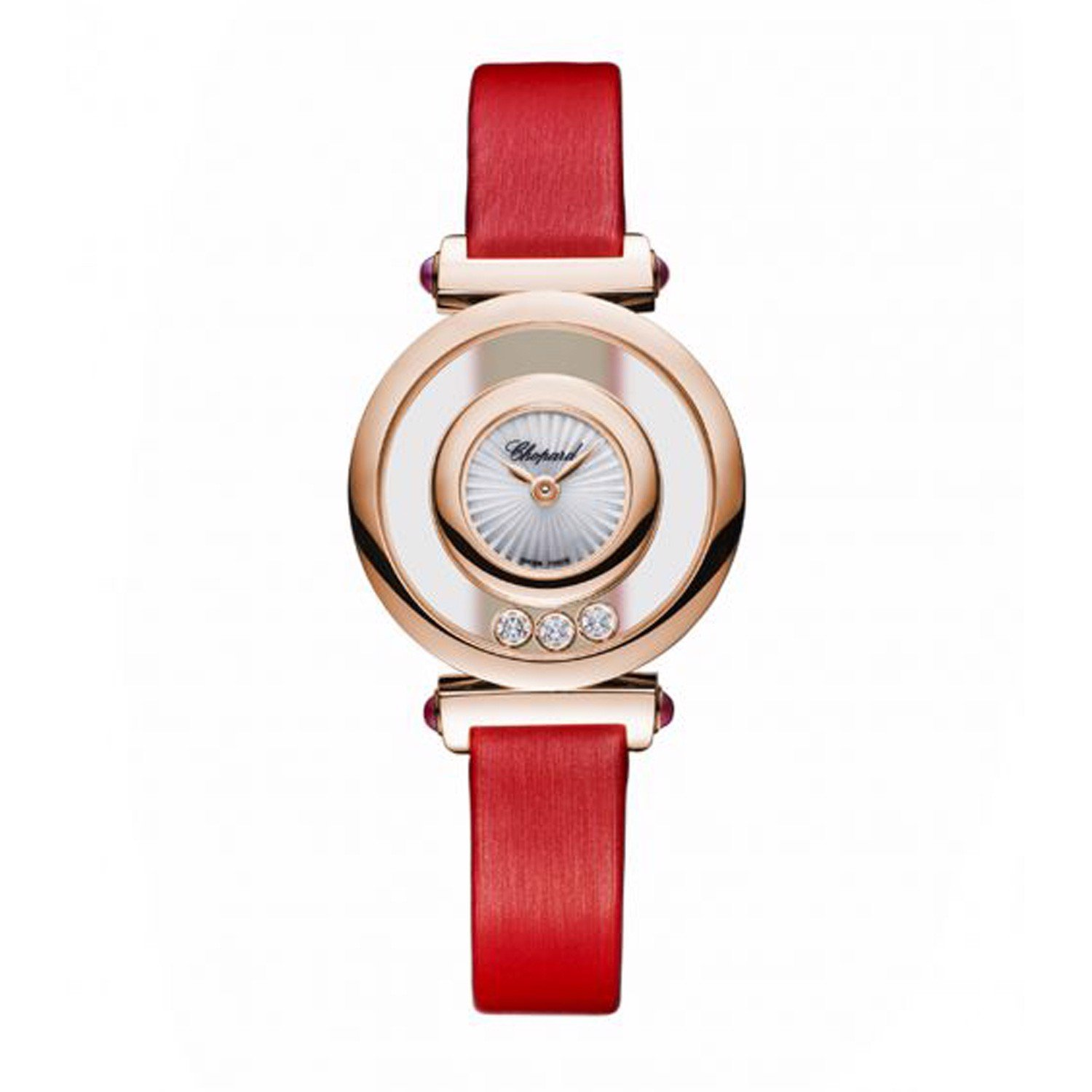 Chopard Happy Diamond Icon Rose Gold Red Leather Strap 26mm