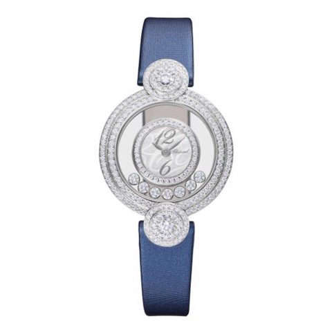 Chopard Happy Diamond Icon Full Diamond White Gold Blue Leather Strap 29mm