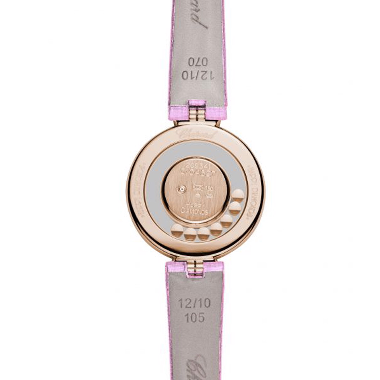 Chopard Happy Diamond Icon Full Diamond Rose Gold Pink Leather Strap 29mm