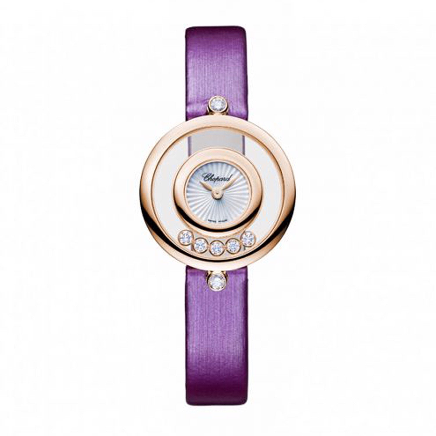 Chopard Happy Diamond Icon Rose Gold Pink Leather Strap 26mm