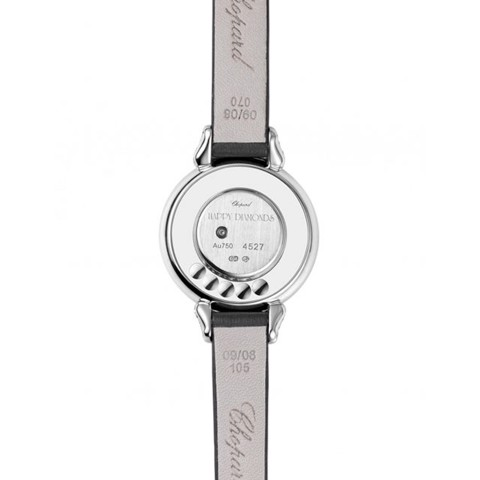 Chopard Happy Diamond Bow Tie White Gold Black Leather Strap 26mm