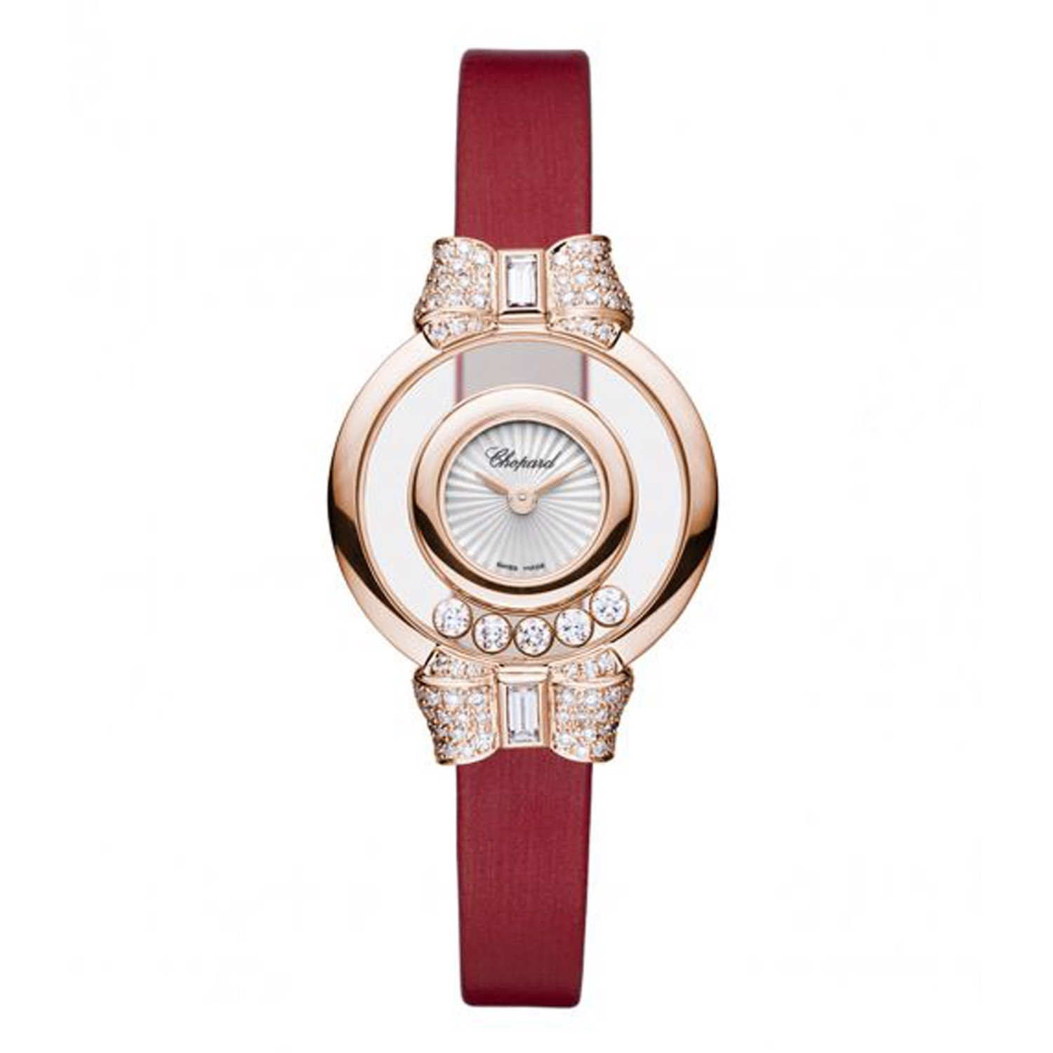 Chopard Happy Diamond Bow Tie Full Diamond Rose Gold Red Leather Strap 26mm