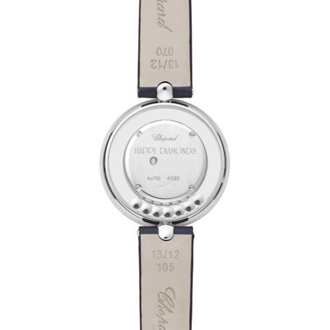 Chopard Happy Diamond Icon White Gold Navy BLue Leather Strap 32mm