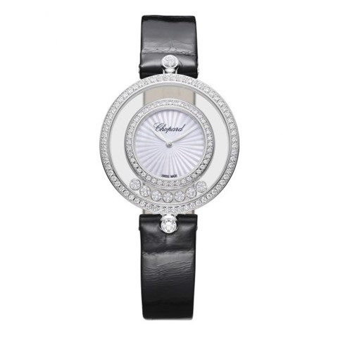 Chopard Happy Diamond Icon Full Diamond White Gold Black Leather 32mm
